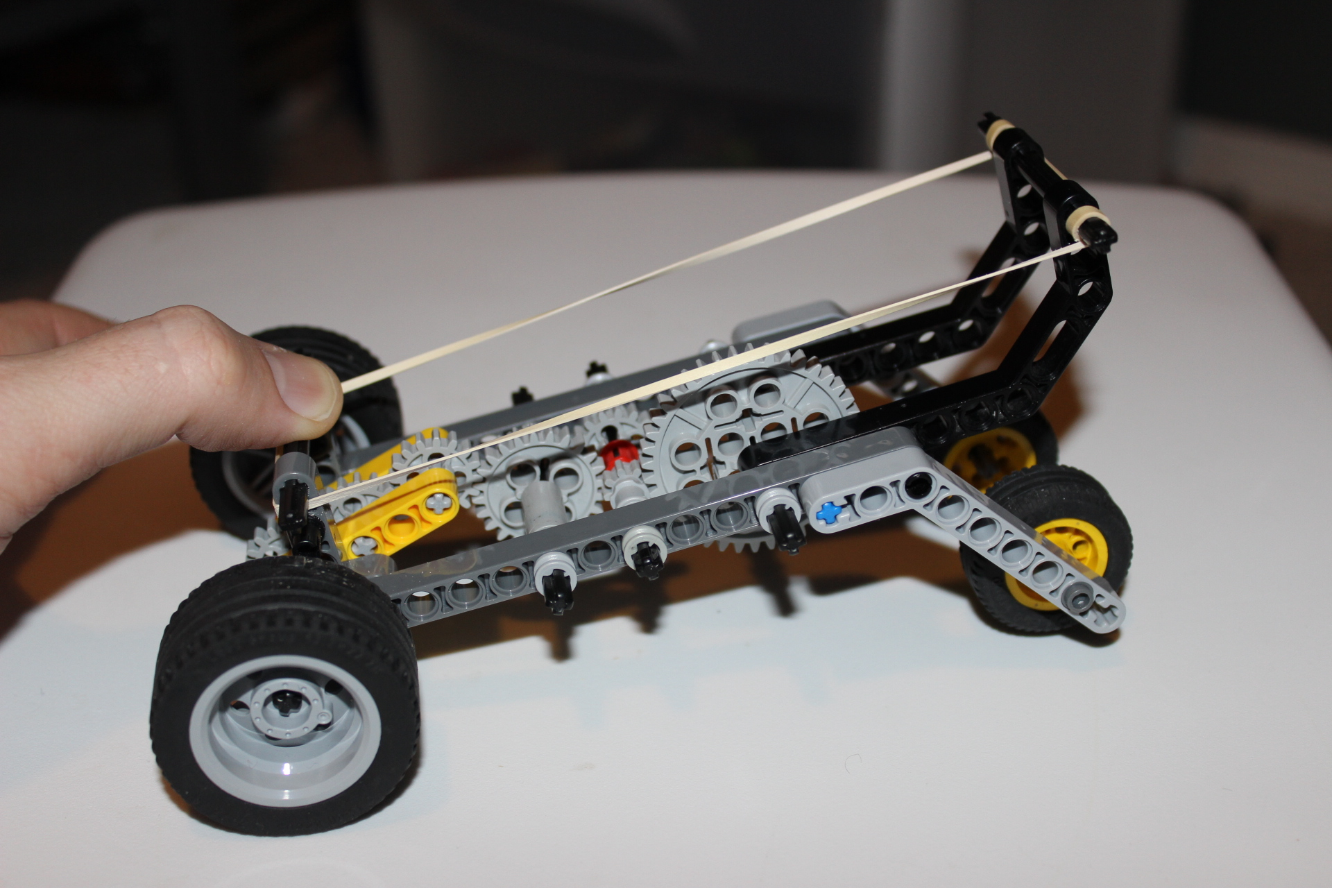 Lever-pull Wind-up LEGO Car - side view lever pulled