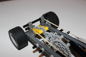 Lever-pull Wind-up LEGO Car - gear angle view