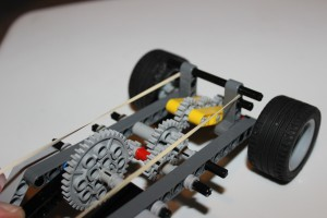 Lever-pull Wind-up LEGO Car - gear angle view 2